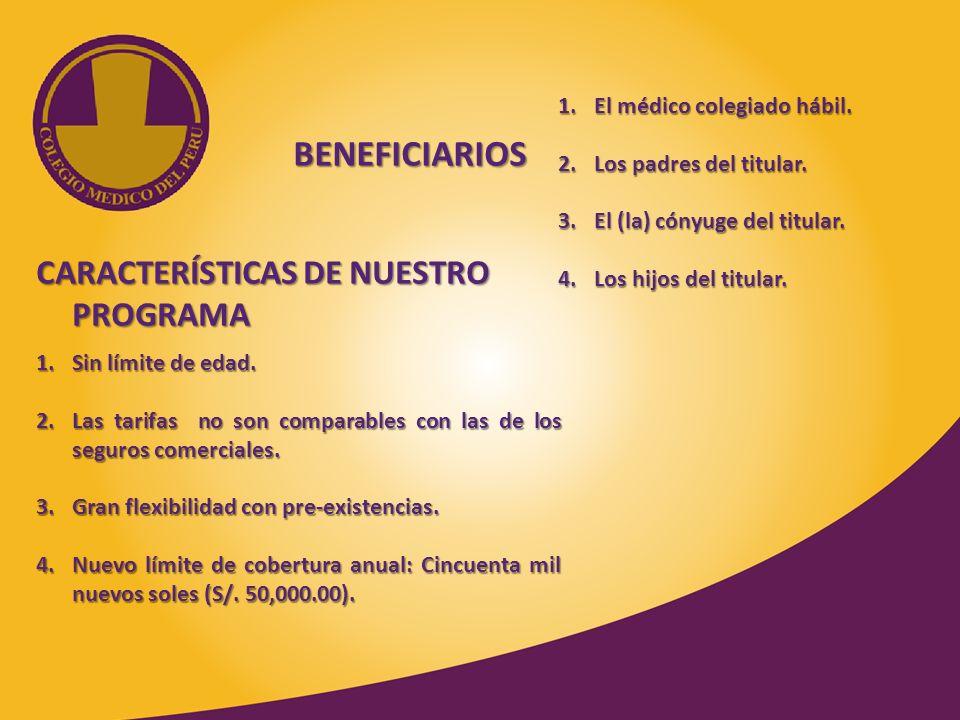 BENEFICIARIOS CARACTERÍSTICAS DE NUESTRO PROGRAMA