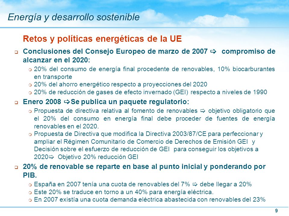 Retos y políticas energéticas de la UE