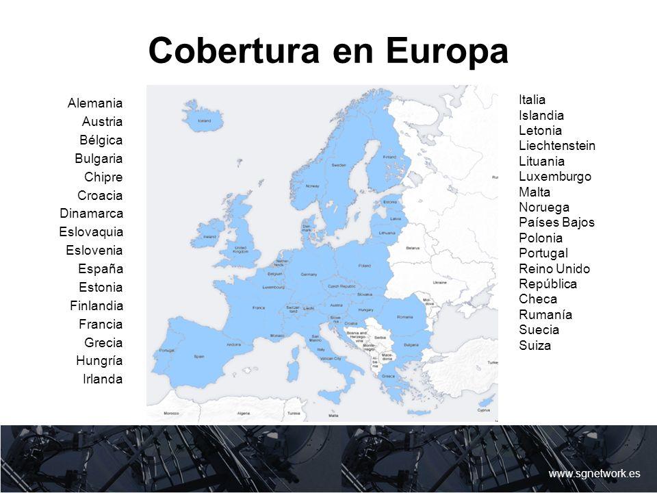 Cobertura en Europa Italia Alemania Islandia Austria Letonia Bélgica