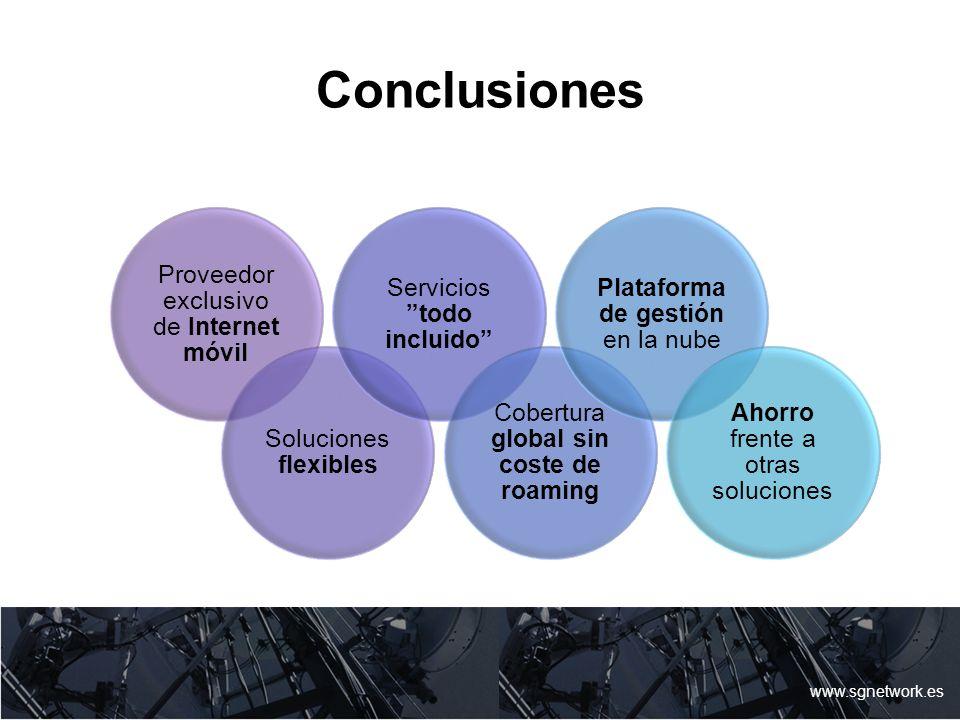 Conclusiones www.sgnetwork.es Proveedor exclusivo de Internet móvil