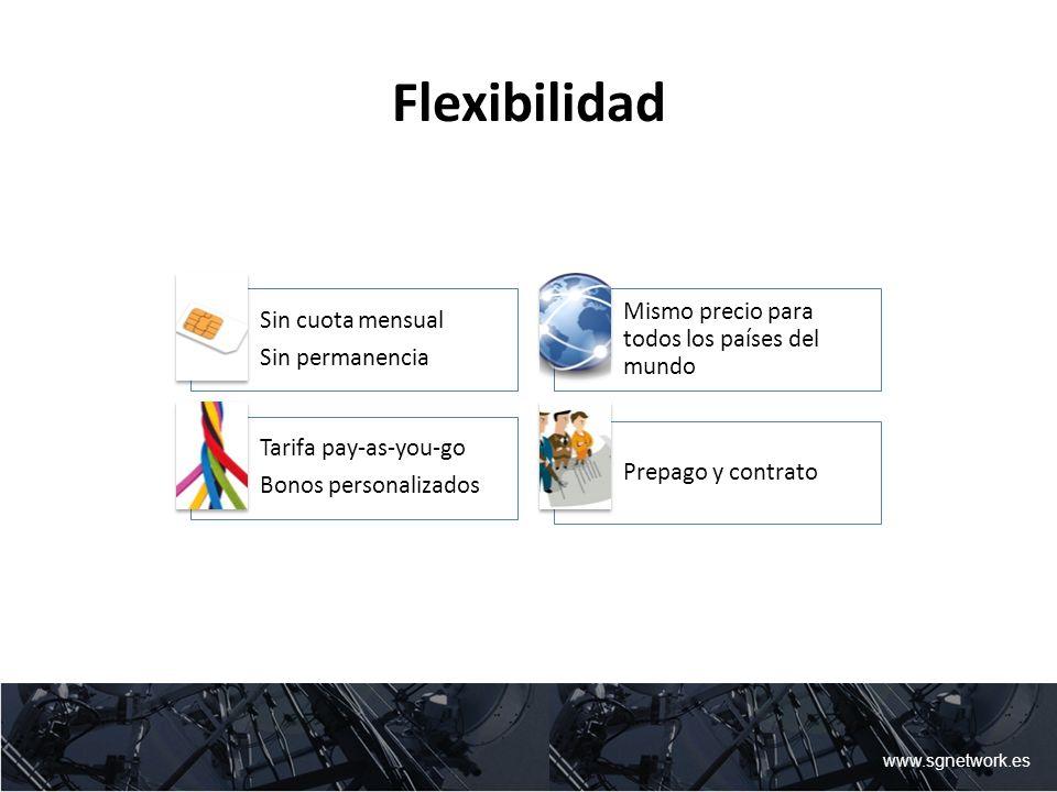 Flexibilidad Mismo precio para todos los países del mundo