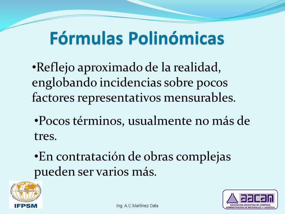 Fórmulas Polinómicas Reflejo aproximado de la realidad, englobando incidencias sobre pocos factores representativos mensurables.
