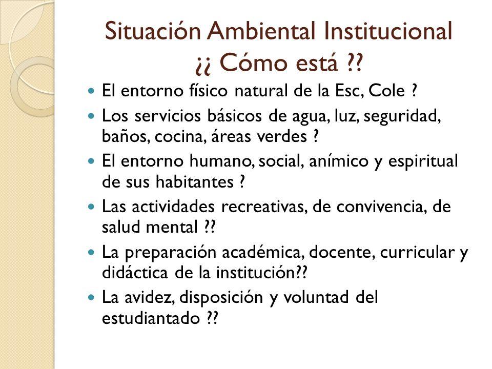 Situación Ambiental Institucional ¿¿ Cómo está
