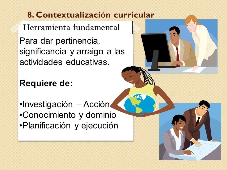 8. Contextualización curricular