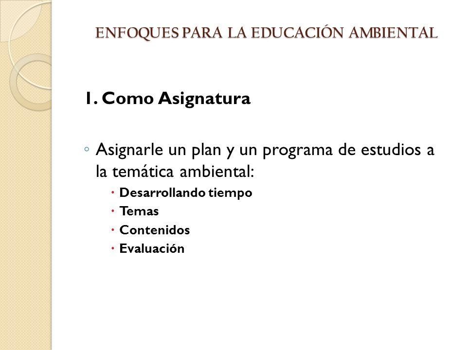 ENFOQUES PARA LA EDUCACIÓN AMBIENTAL