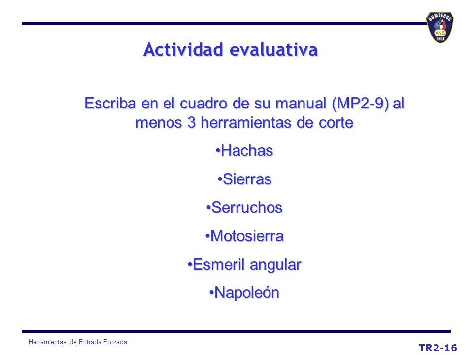 Actividad evaluativaEscriba en el cuadro de su manual (MP2-9) al menos 3 herramientas de corte. Hachas.