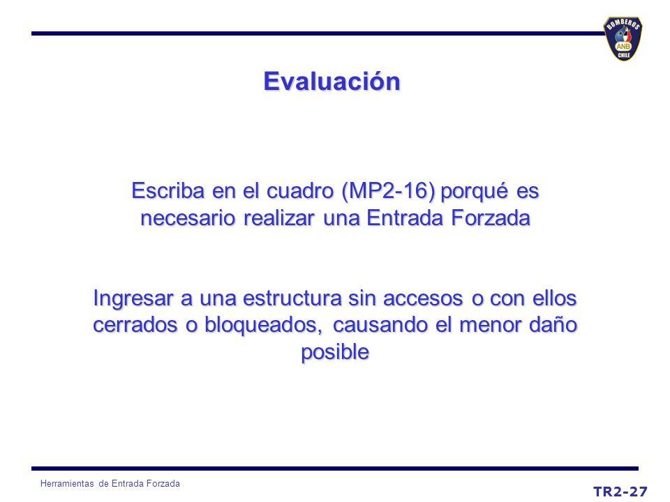 EvaluaciónEscriba en el cuadro (MP2-16) porqué es necesario realizar una Entrada Forzada.