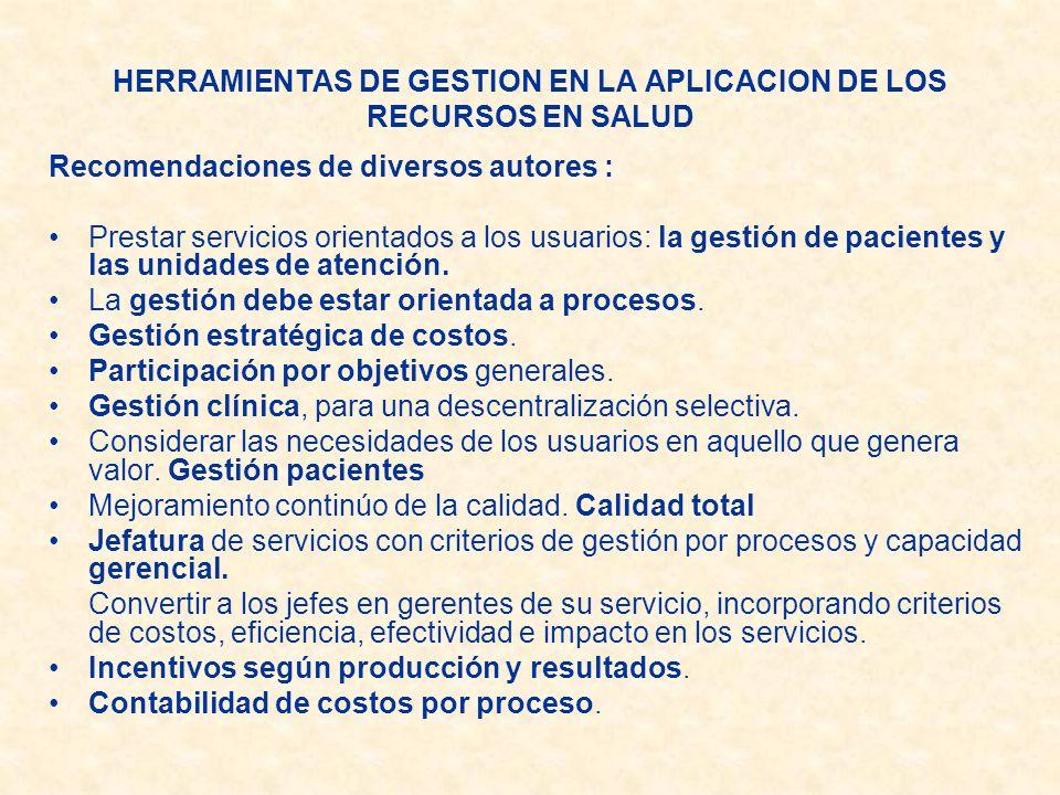 HERRAMIENTAS DE GESTION EN LA APLICACION DE LOS RECURSOS EN SALUD