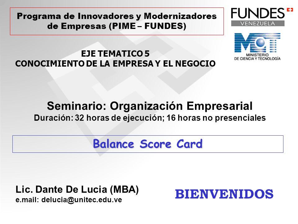 BIENVENIDOS Seminario: Organización Empresarial Balance Score Card