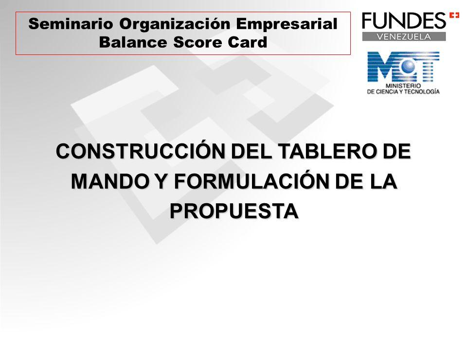 CONSTRUCCIÓN DEL TABLERO DE MANDO Y FORMULACIÓN DE LA PROPUESTA