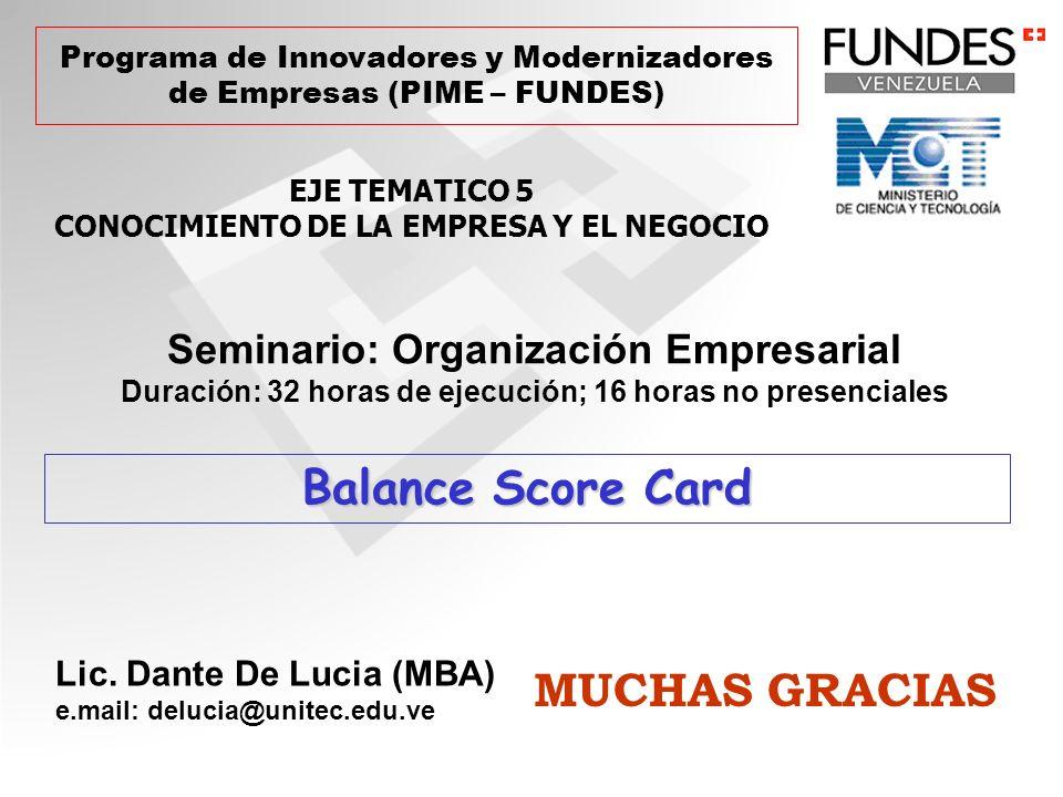 Balance Score Card MUCHAS GRACIAS Seminario: Organización Empresarial