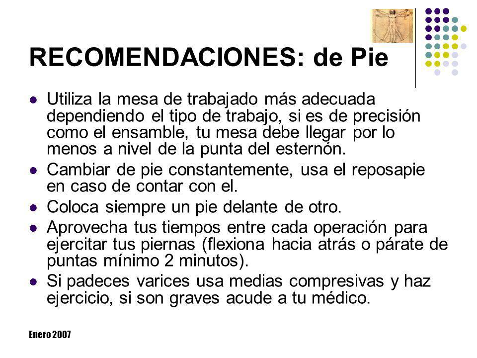 RECOMENDACIONES: de Pie