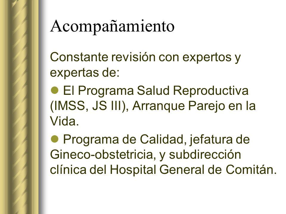 Acompañamiento Constante revisión con expertos y expertas de: