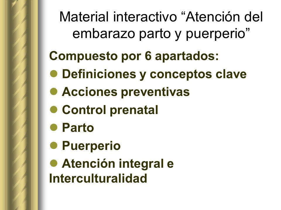 Material interactivo Atención del embarazo parto y puerperio