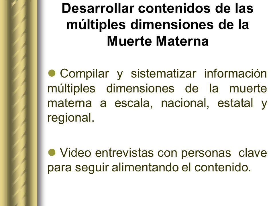 Desarrollar contenidos de las múltiples dimensiones de la Muerte Materna