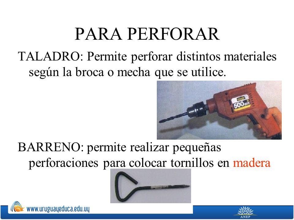 PARA PERFORAR TALADRO: Permite perforar distintos materiales según la broca o mecha que se utilice.