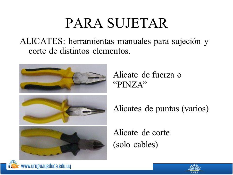 PARA SUJETAR ALICATES: herramientas manuales para sujeción y corte de distintos elementos. Alicate de fuerza o PINZA