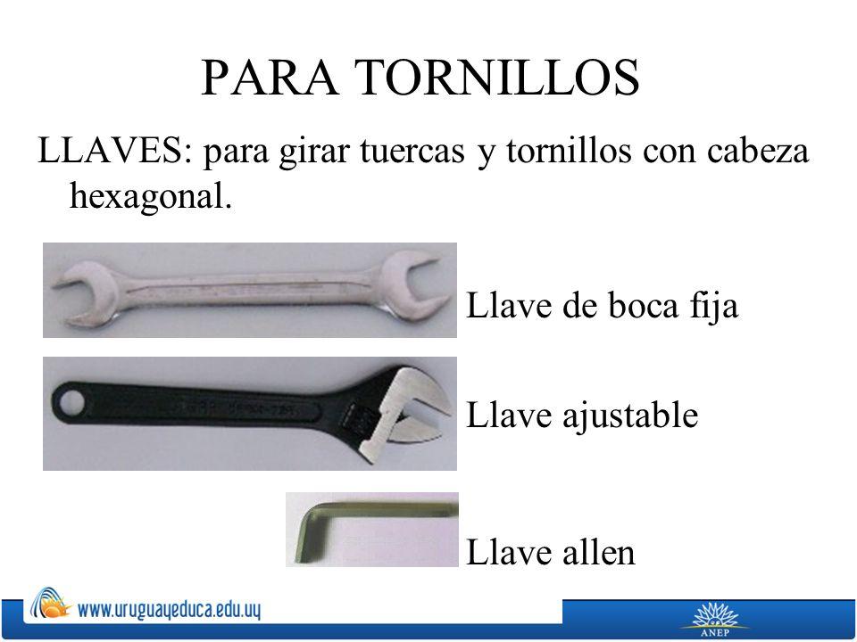 PARA TORNILLOS LLAVES: para girar tuercas y tornillos con cabeza hexagonal. Llave de boca fija. Llave ajustable.