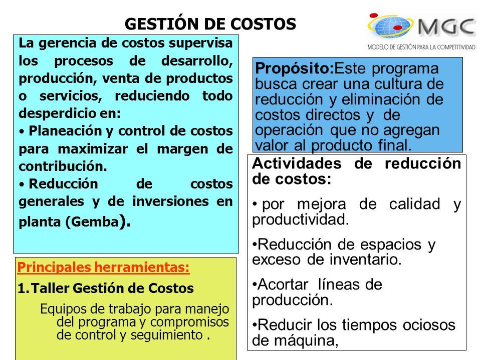 Actividades de reducción de costos: