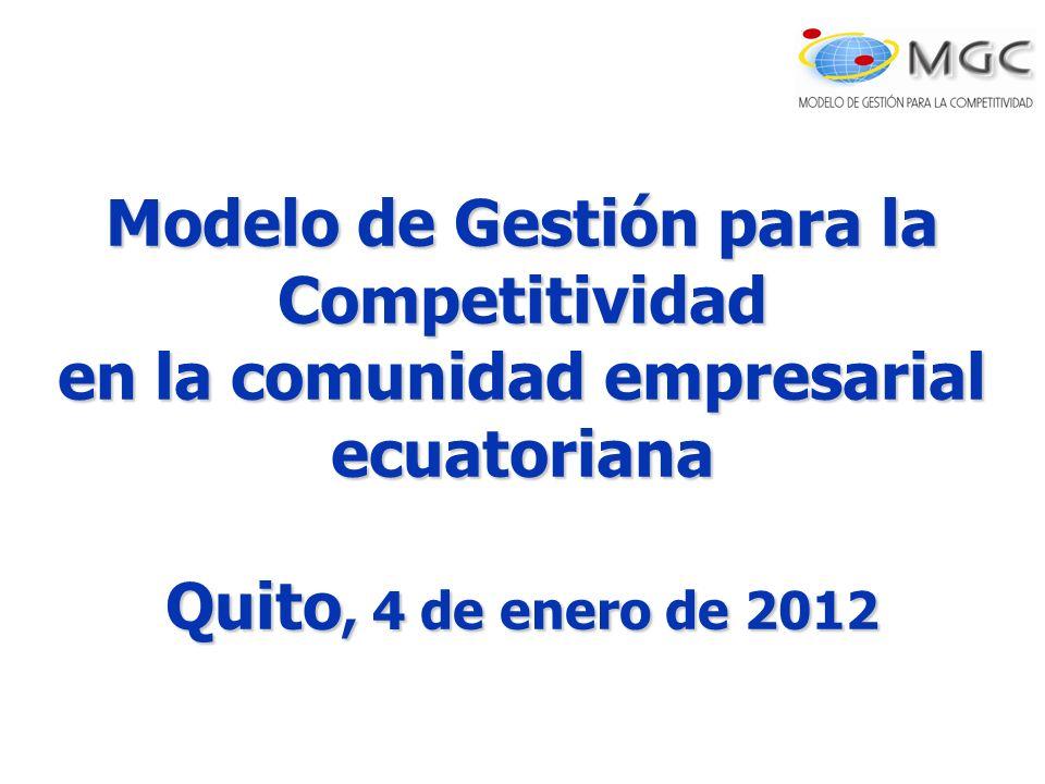 Modelo de Gestión para la Competitividad en la comunidad empresarial ecuatoriana Quito, 4 de enero de 2012