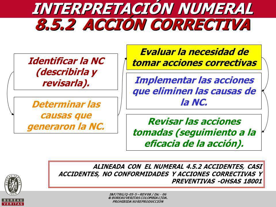 INTERPRETACIÓN NUMERAL 8.5.2 ACCIÓN CORRECTIVA