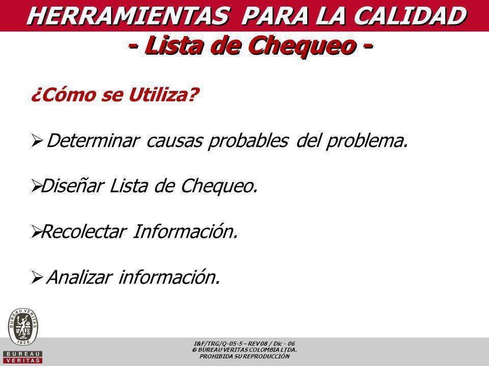HERRAMIENTAS PARA LA CALIDAD - Lista de Chequeo -