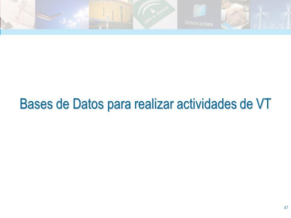 Bases de Datos para realizar actividades de VT