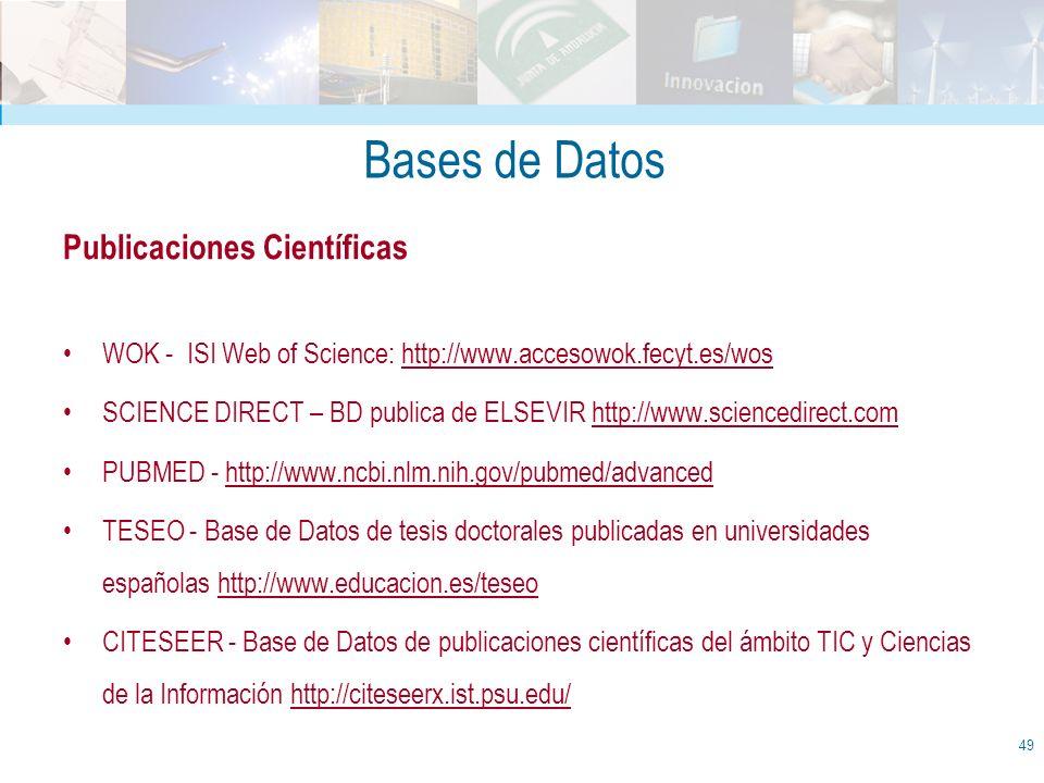 Bases de Datos Publicaciones Científicas