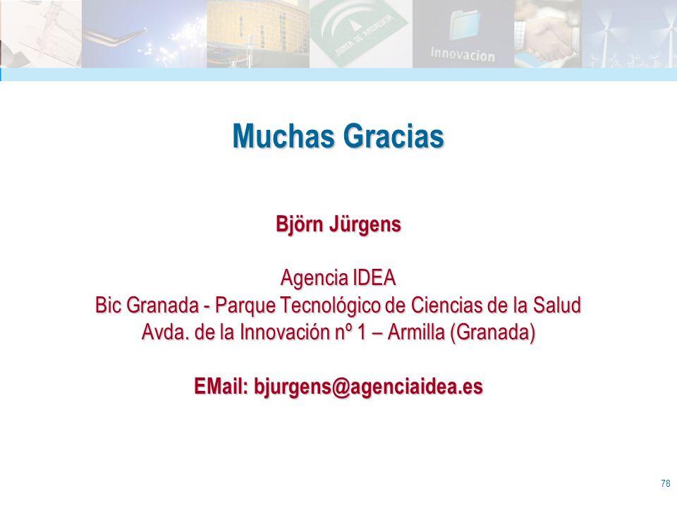 Muchas Gracias Björn Jürgens Agencia IDEA Bic Granada - Parque Tecnológico de Ciencias de la Salud Avda.