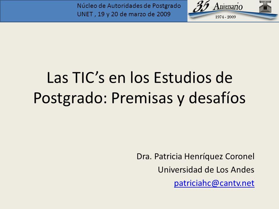 Las TIC's en los Estudios de Postgrado: Premisas y desafíos
