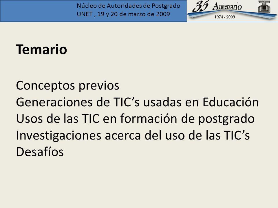 Temario Conceptos previos Generaciones de TIC's usadas en Educación Usos de las TIC en formación de postgrado Investigaciones acerca del uso de las TIC's Desafíos