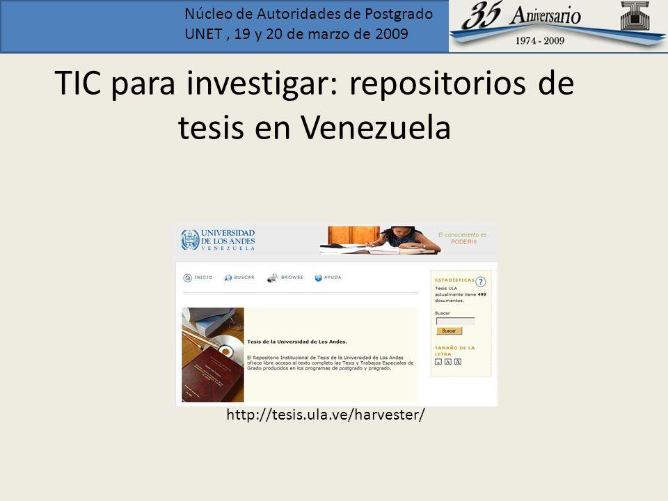 TIC para investigar: repositorios de tesis en Venezuela