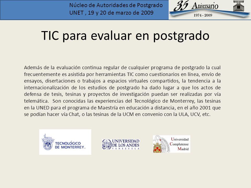 TIC para evaluar en postgrado