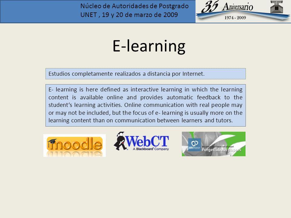 E-learning Estudios completamente realizados a distancia por Internet.