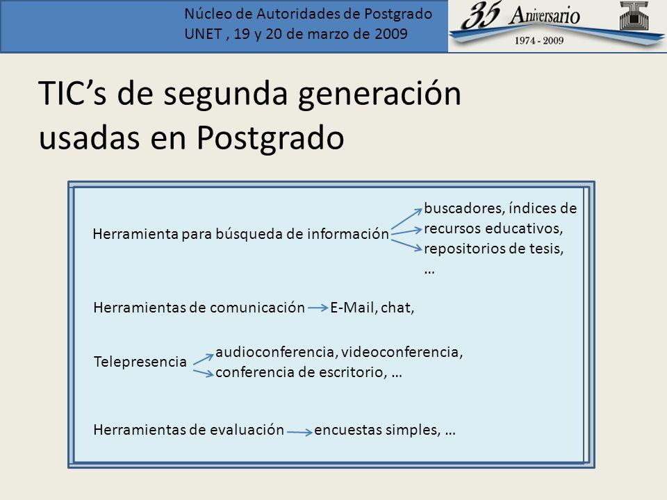 TIC's de segunda generación usadas en Postgrado