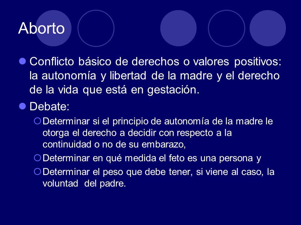 AbortoConflicto básico de derechos o valores positivos: la autonomía y libertad de la madre y el derecho de la vida que está en gestación.