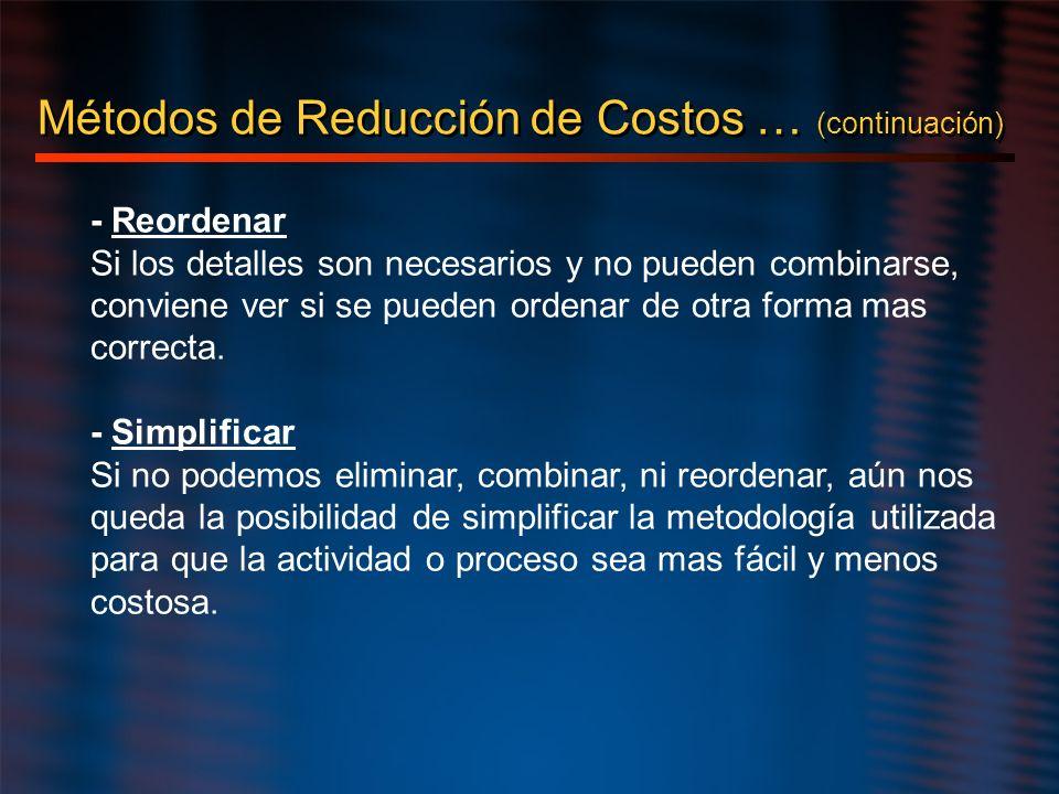 Métodos de Reducción de Costos … (continuación)