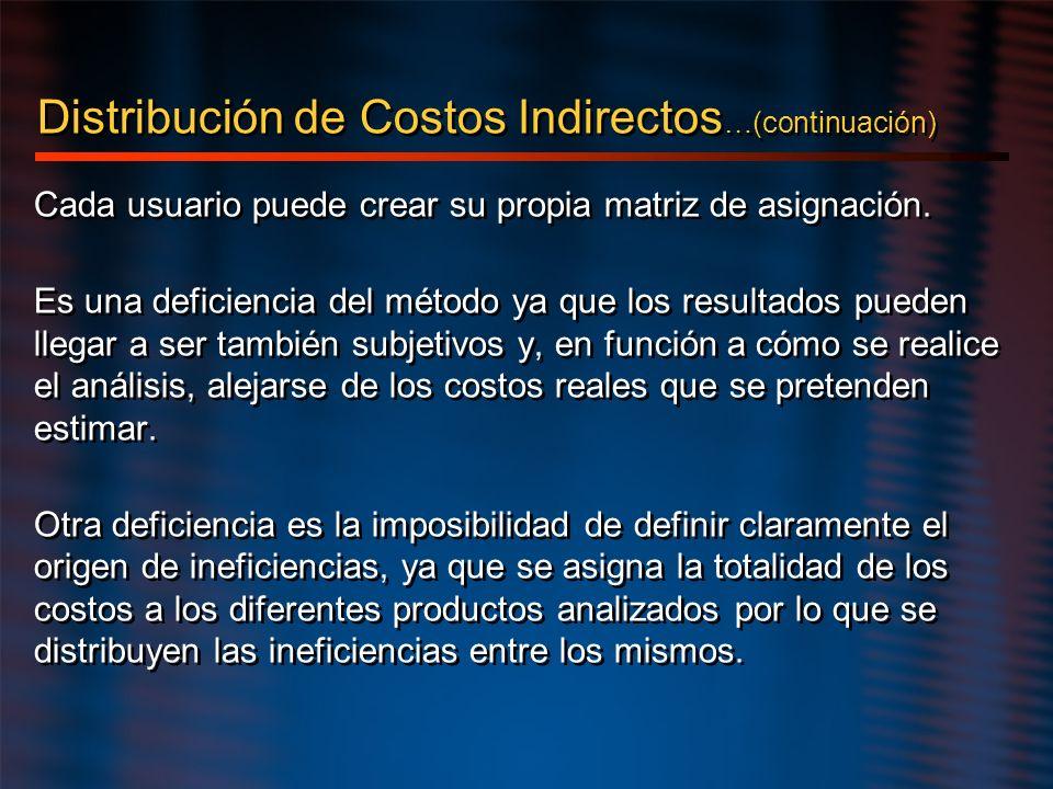Distribución de Costos Indirectos…(continuación)