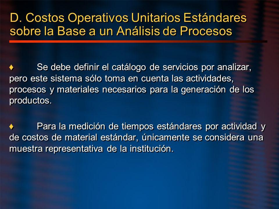 D. Costos Operativos Unitarios Estándares sobre la Base a un Análisis de Procesos