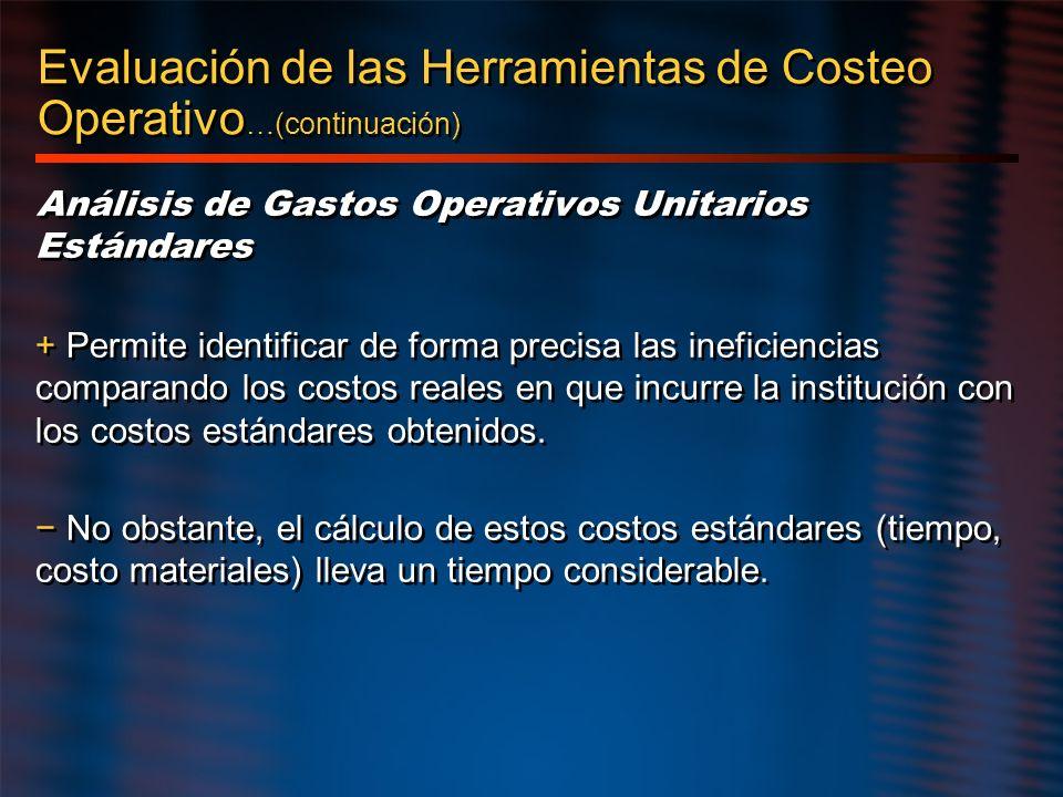 Evaluación de las Herramientas de Costeo Operativo…(continuación)