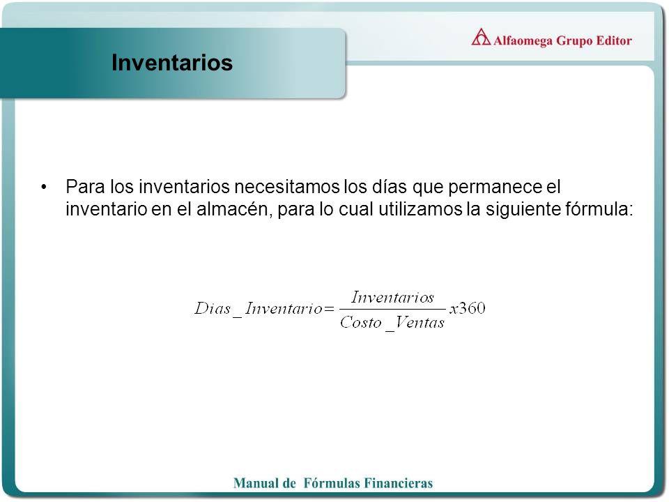 Inventarios Para los inventarios necesitamos los días que permanece el inventario en el almacén, para lo cual utilizamos la siguiente fórmula: