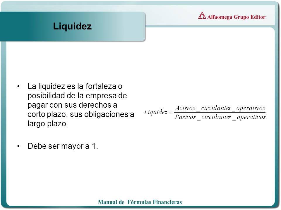 Liquidez La liquidez es la fortaleza o posibilidad de la empresa de pagar con sus derechos a corto plazo, sus obligaciones a largo plazo.