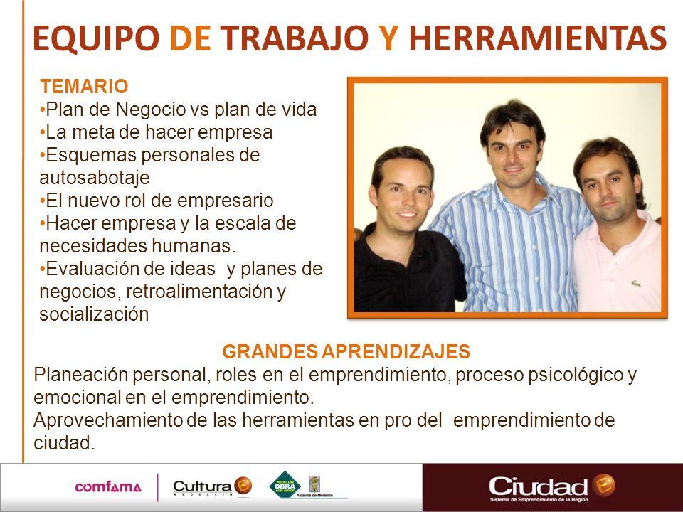 EQUIPO DE TRABAJO Y HERRAMIENTAS