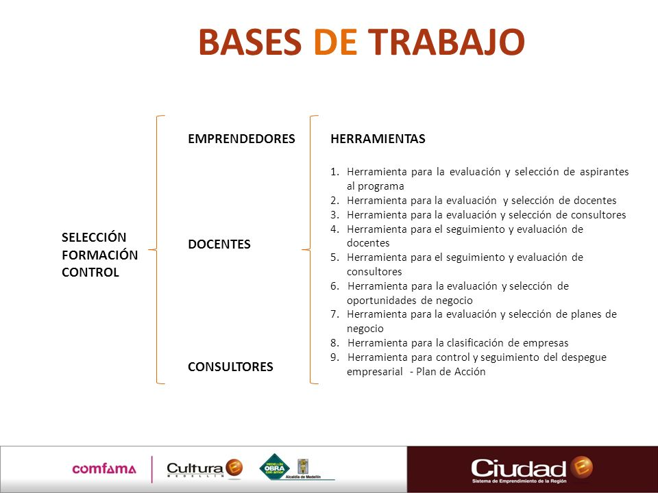 BASES DE TRABAJO EMPRENDEDORES DOCENTES CONSULTORES HERRAMIENTAS