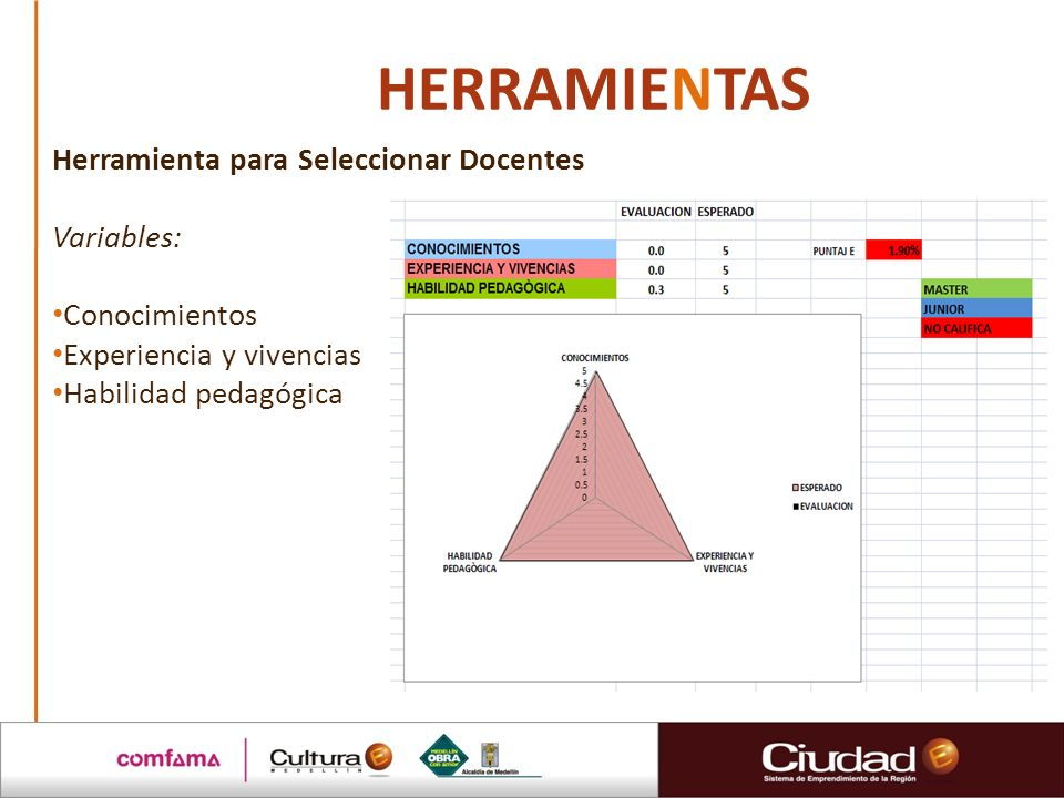 HERRAMIENTAS Herramienta para Seleccionar Docentes Variables: