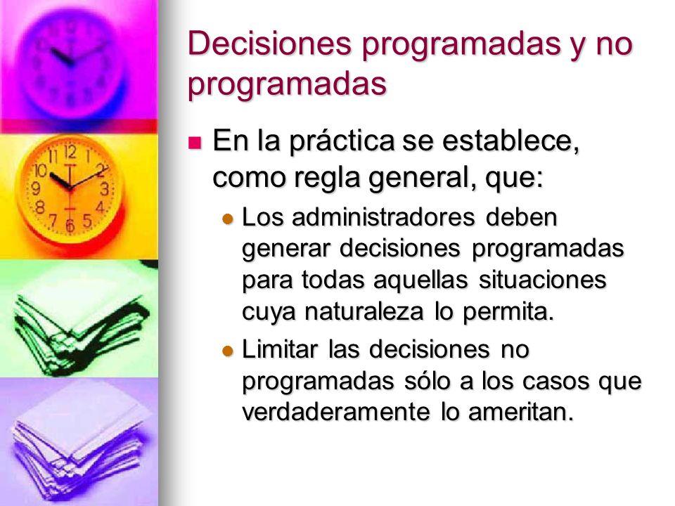 Decisiones programadas y no programadas