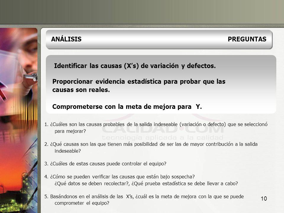 Identificar las causas (X's) de variación y defectos.