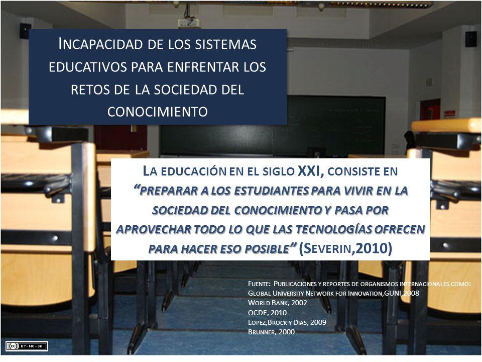Incapacidad de los sistemas educativos para enfrentar los retos de la sociedad del conocimiento