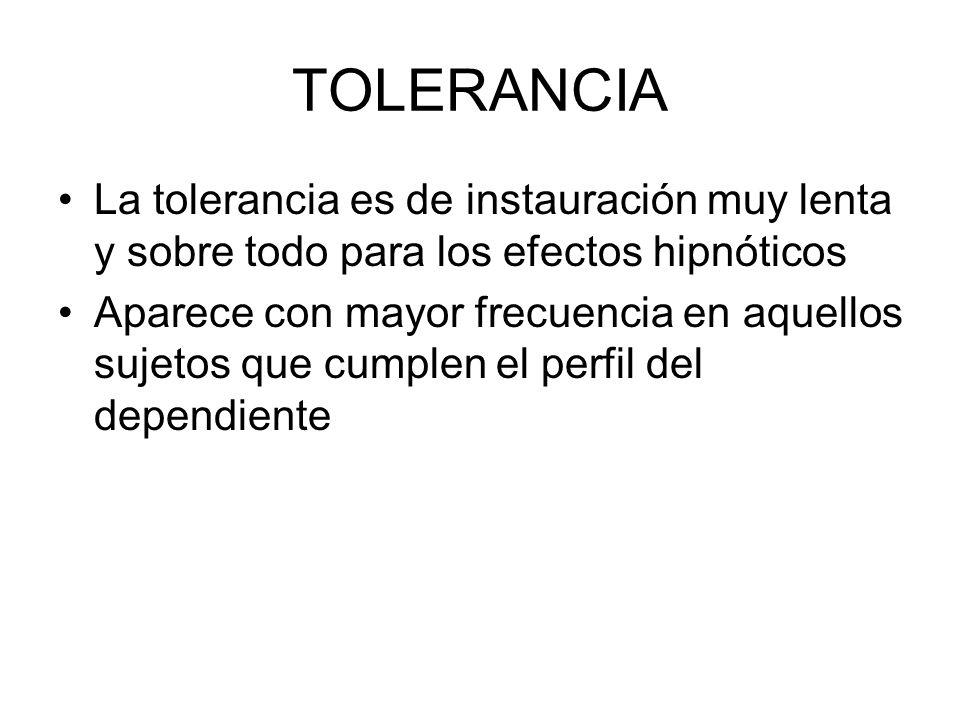 TOLERANCIA La tolerancia es de instauración muy lenta y sobre todo para los efectos hipnóticos.