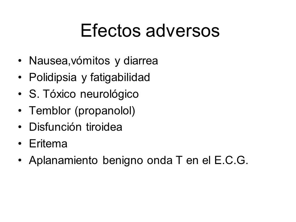 Efectos adversos Nausea,vómitos y diarrea Polidipsia y fatigabilidad